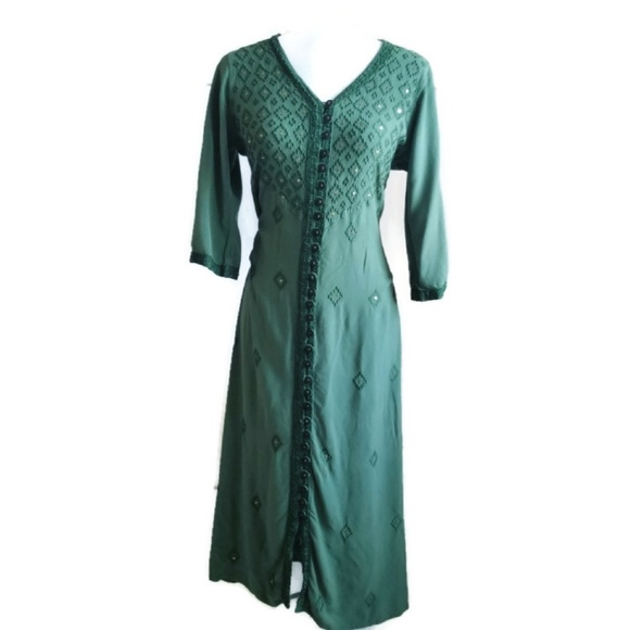 Soft Surroundings Dresses & Skirts - Soft Surroundings Green Buttonup Embroidered Dress